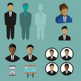 Business infographic with icons, persons, charts and hourglass, flat design. Digital vector image Royalty Free Stock Photo