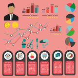 Business infographic with icons, persons and money, flat design. Digital vector image Royalty Free Stock Photos