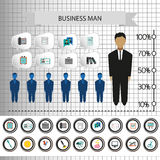 Business infographic with icons, persons, pencil and badge, flat design. Digital vector image Stock Photography