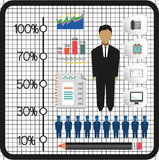 Business infographic with icons, persons, pencil and badge, flat design. Digital vector image Stock Image