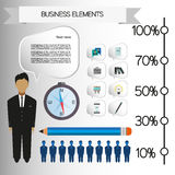 Business infographic with icons, persons, pencil and badge, flat design. Digital vector image Stock Photos