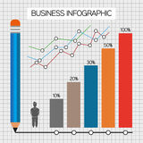 Business infographic with icons, persons, pencil and diagrams, flat design. Digital vector image Stock Photos