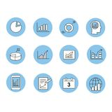 Business Infographic icons - Vector Graphics. Business charts  Infographic analysis, diagrams icons  - Vector Graphics Stock Images