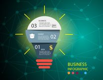 Business infographic illustration with abstract bright light bulbs. stock illustration