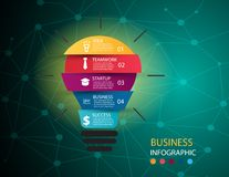 Business infographic illustration with abstract bright light bul vector illustration