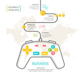 Business infographic with joystick. Business infographic with joystick and design elements on white background with the map. Conceptual image of business Royalty Free Stock Photography