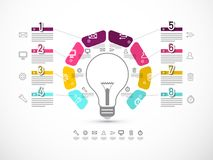 Business Infographic Layout with Data Flow and Big Bulb. Eight Steps Infographics Design. Business Infographic Layout with Data Flow and Big Bulb. Vector Eight stock illustration
