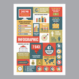 Business infographic - mosaic poster with icons in flat design style. Vector icons set. Royalty Free Stock Photo