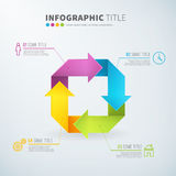 Business infographic rotate arrow chart time laps. With icons for reports and presentations. Vector illustration Stock Photography