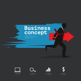Business infographic with silhouette businessman holding arrow Royalty Free Stock Photo