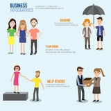 Business infographic with teamwork,sharing and help others vecto Stock Photos