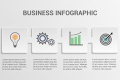 Business infographic template. Abstract infographics 4 options template. Vector illustration. Can be used for workflow layout, business step options, banner Royalty Free Stock Photography