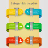 Business infographic template. With arrows, ribbons and icons. Concept with 6 options, steps, parts or processes Stock Photos