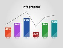 Business Infographic template. Design with numbers 6 options or steps. royalty free illustration