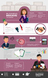 Business infographic template with office workers. Business infographic template background with office workers, abstract icons and place for text. Creative Stock Image