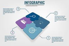 Business infographic template with 4 options jigsaw shape, Abstr stock illustration