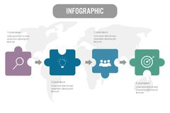 Business infographic template with 4 options jigsaw shape, Abstr royalty free illustration