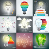 Business infographic template set with lightbulb. Royalty Free Stock Images