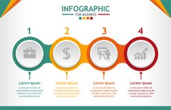 Business infographic template with 4 steps, Business data diagram, process chart. Vector infographic Stock Photo