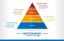 Business infographic template with 4 steps, Pyramid diagram with level, Business data presentation. Business infographic template with 4 steps, Pyramid diagram Stock Image
