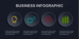 Business infographic template. Vector abstract 3d paper infographic with 4 options,can be used for workflow layout, diagram, website, corporate report Stock Illustration