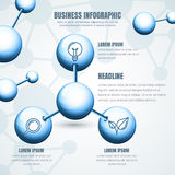 Business infographic template. Vector blue molecular structure b. Ackground. Concept for science, ecology, biotechnology, chemical industry themes. Design for Stock Photo