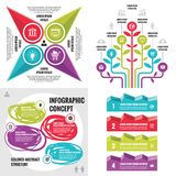 Business infographic templates concept vector illustration. Abstract banner set. Advertising promotion layout collection. Business infographic templates concept Stock Photography