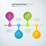 Business infographic time line chart statistics with icons. For reports and presentations. Vector illustration Stock Photos