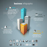 Business infographic. Vector illustration of business infographic made of buildings Royalty Free Stock Images