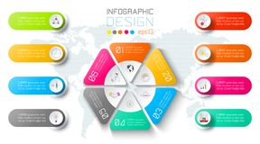 Business infographic on world map background with 8 labels around hexagon circle. Business infographic on world map background with 8 labels around hexagon stock illustration