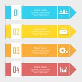 Business infographics with arrow. Template with 4 elements, steps, options. Parts or processes Stock Photo
