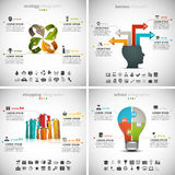 4 in 1 Business Infographics Bundle. Vector set of different infographics. Vol.35 Stock Illustration