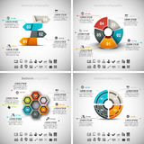 4 in 1 Business Infographics Bundle. Vector set of business infographics. Vol.33 Royalty Free Illustration