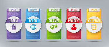 Business infographics cards or labels icons. Business infographics cards or labels icon with place for text. Timeline or process design with 5 steps. Vector Royalty Free Stock Images