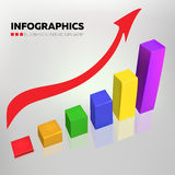 Business infographics - chart color vector design. Business chart vector design in random colors with red arrow on gradient background Royalty Free Stock Photos