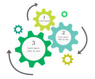 Business infographics cogwheel design. Business infographics with arrows and gears Stock Photography