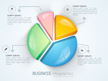 Business infographics with colorful 3D pie chart. Royalty Free Stock Image