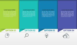 Business infographics with 4 colorful steps or processes. Timeline with linear pictograms. Illustration stock illustration