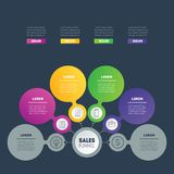 Business infographics concept with 4 options. Vector info graphi. C of technology or education process. Annual report. Web Template of a info chart, diagram or Royalty Free Stock Photo