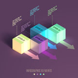 Business Infographics cube. 3d vector isometric illustration. Can be used for web design and workflow layout Royalty Free Stock Image