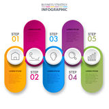 Business infographics design elements template graphic illustrat. Business Infographics, strategy, timeline, design elements colorful paper tag and button Royalty Free Stock Image