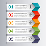 Business infographics design paper arrow template. Business infographics design template in the form of colored paper arrows. 5 steps, options, stages vector stock illustration