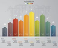 Business infographics design with 10 steps arrow graph for your presentation. Royalty Free Stock Image