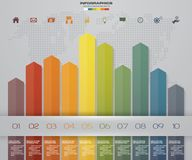 Business infographics design with 10 steps arrow graph for your presentation. EPS 10 royalty free illustration