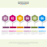 Business Infographics design template illustration. Business Infographics, strategy, timeline, design template illustration with colorful arrow bar and hexagon Royalty Free Stock Photo