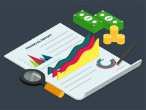 Business Infographics Financial Report Concept, with Isometrics. Graphs, Currencies and Reports Royalty Free Stock Photos