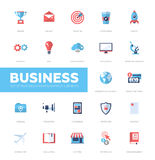 Business infographics flat design icons, web elements set. Set pf modern vector business infographics flat design icons, web design elements. Mission, targeting Royalty Free Stock Images
