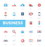 Business infographics flat design icons, web elements set Stock Photos