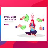 Business infographics. Flat design illustration. A woman shows a lamp idea, hands give him money. royalty free illustration