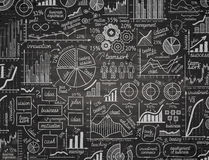 Business infographics. hand drawn graphics with chalk on the black Board. vector illustration Stock Photos